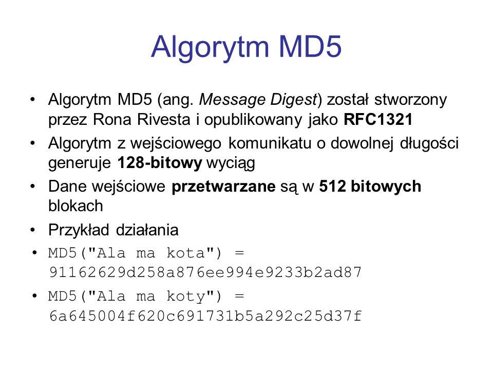 Algorytm MD5 Algorytm MD5 (ang. Message Digest) został stworzony przez Rona Rivesta i opublikowany jako RFC1321.