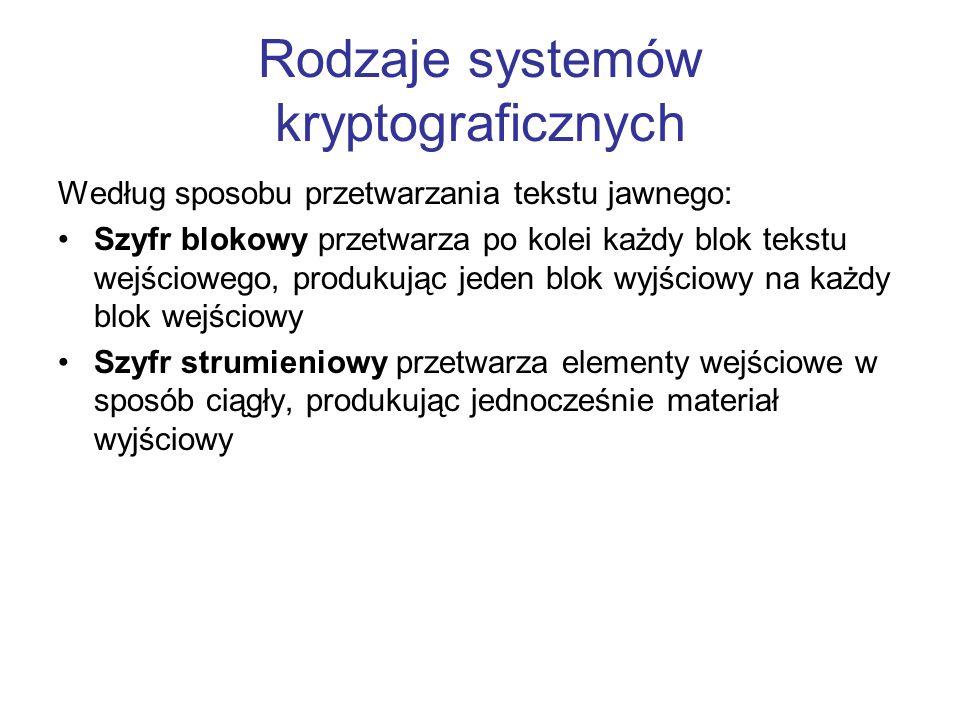 Rodzaje systemów kryptograficznych