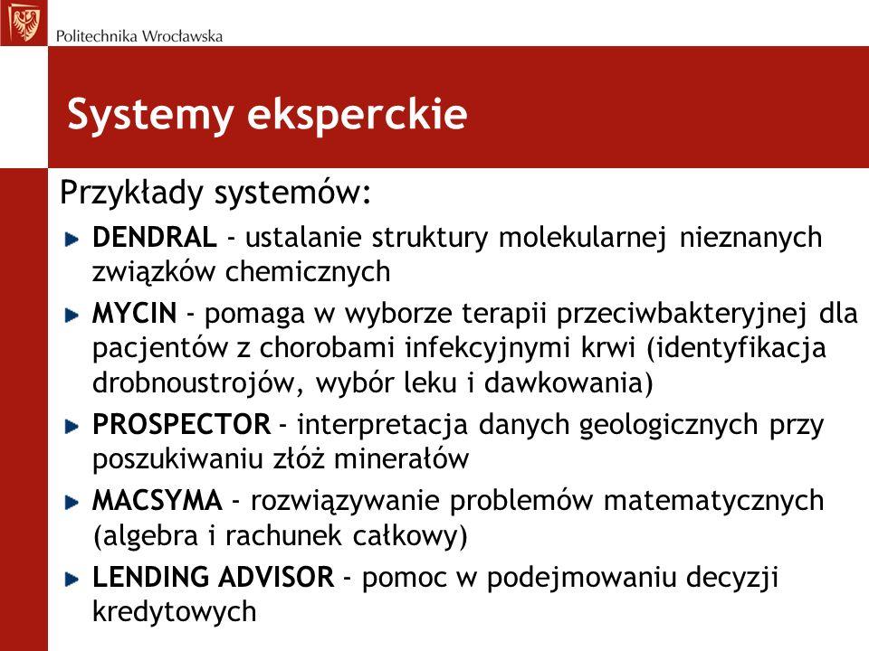 Systemy eksperckie Przykłady systemów: