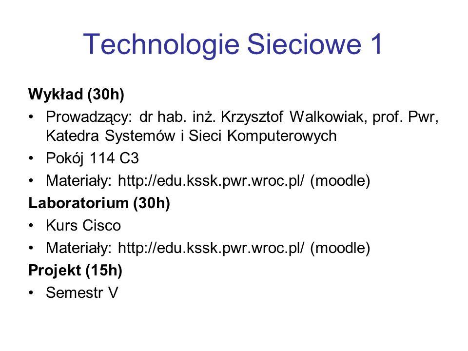 Technologie Sieciowe 1 Wykład (30h)