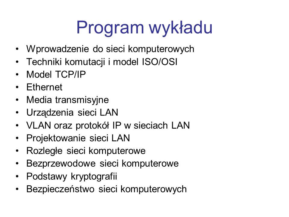 Program wykładu Wprowadzenie do sieci komputerowych