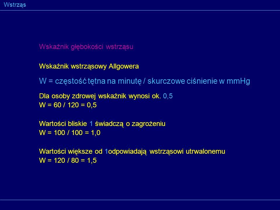 W = częstość tętna na minutę / skurczowe ciśnienie w mmHg