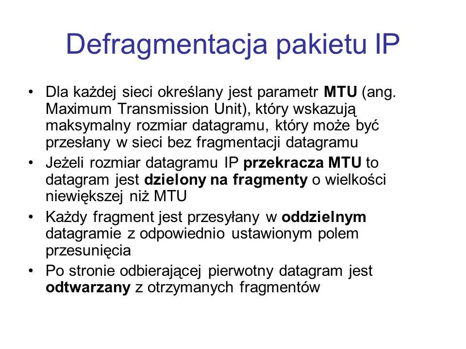 Defragmentacja pakietu IP
