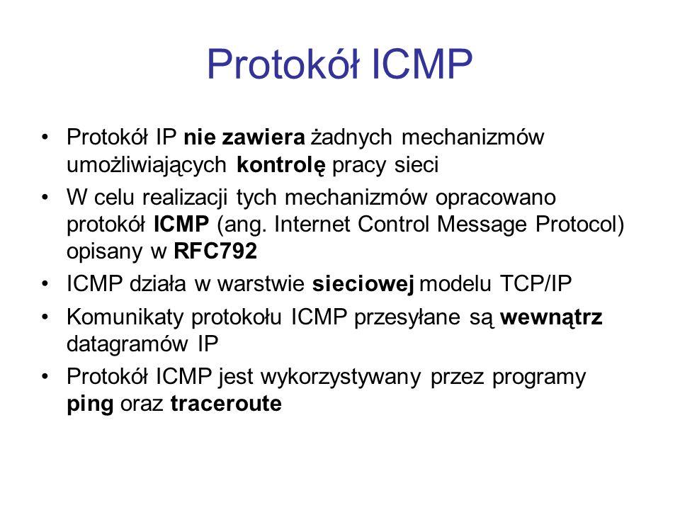 Protokół ICMP Protokół IP nie zawiera żadnych mechanizmów umożliwiających kontrolę pracy sieci.