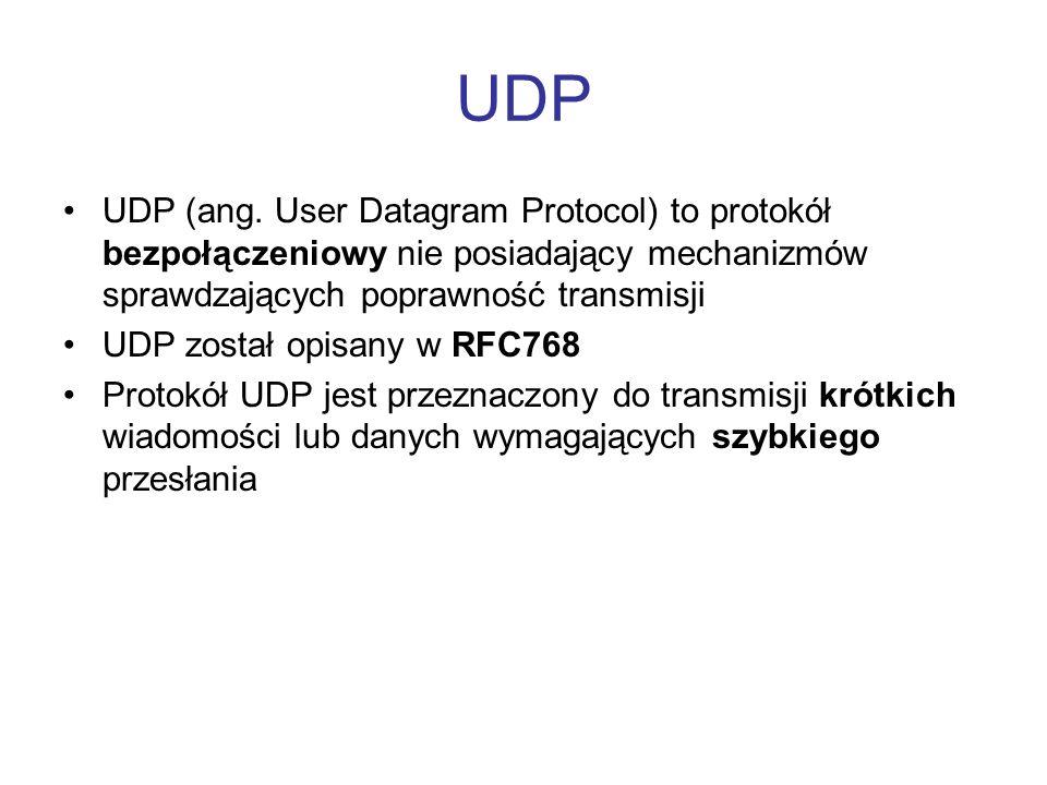 UDP UDP (ang. User Datagram Protocol) to protokół bezpołączeniowy nie posiadający mechanizmów sprawdzających poprawność transmisji.