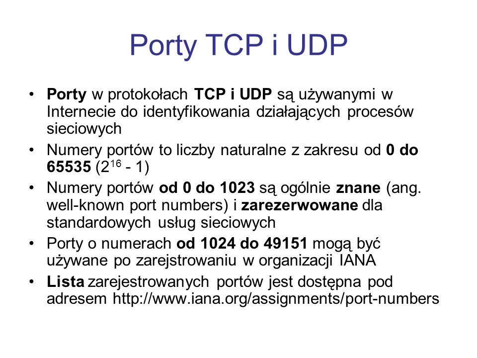 Porty TCP i UDP Porty w protokołach TCP i UDP są używanymi w Internecie do identyfikowania działających procesów sieciowych.