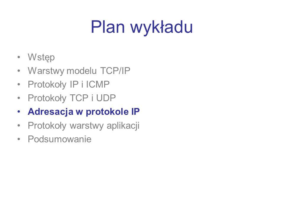 Plan wykładu Wstęp Warstwy modelu TCP/IP Protokoły IP i ICMP