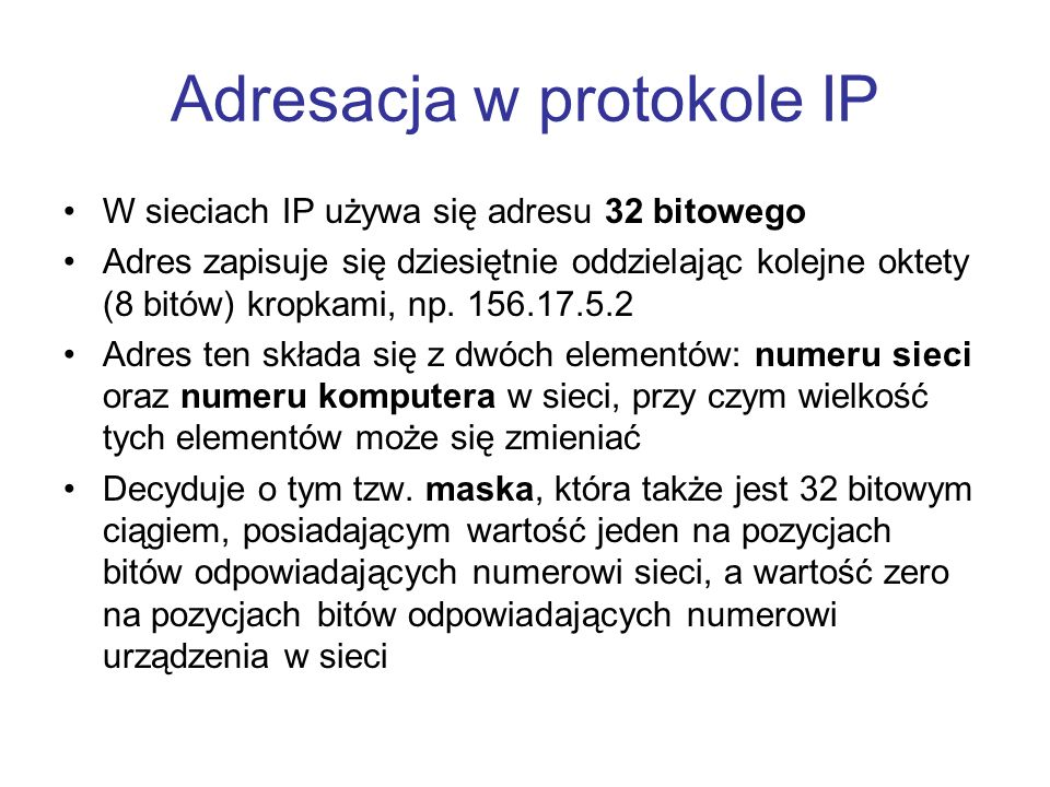 Adresacja w protokole IP