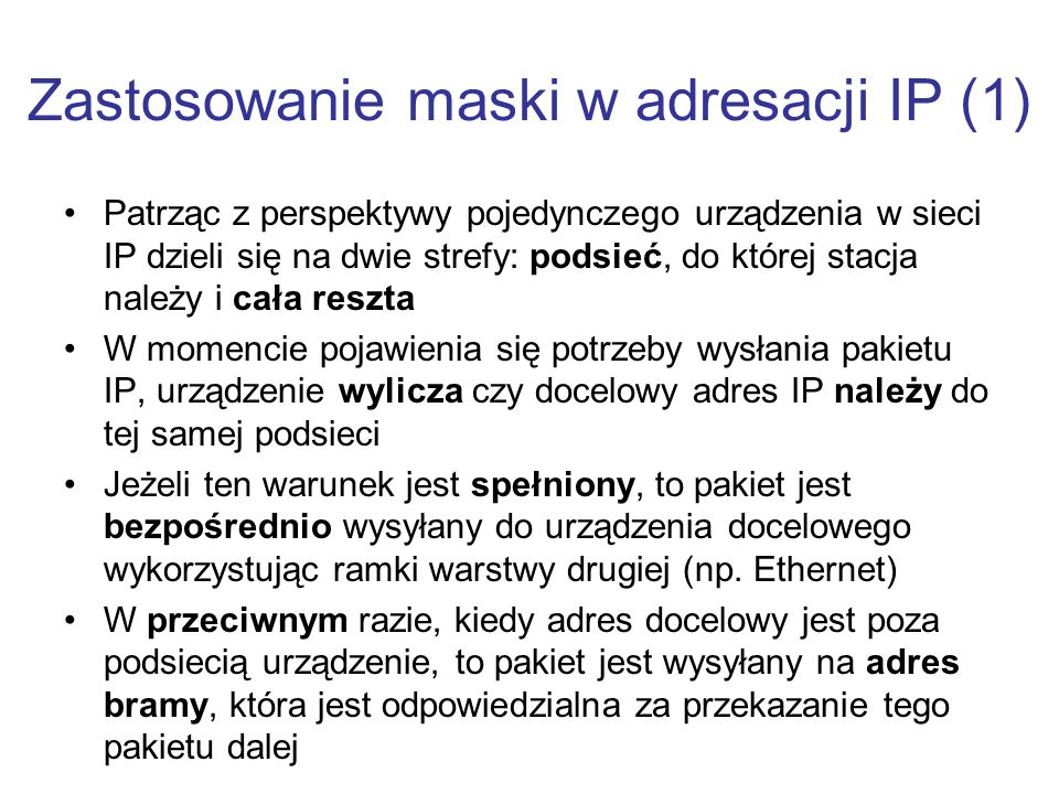 Zastosowanie maski w adresacji IP (1)