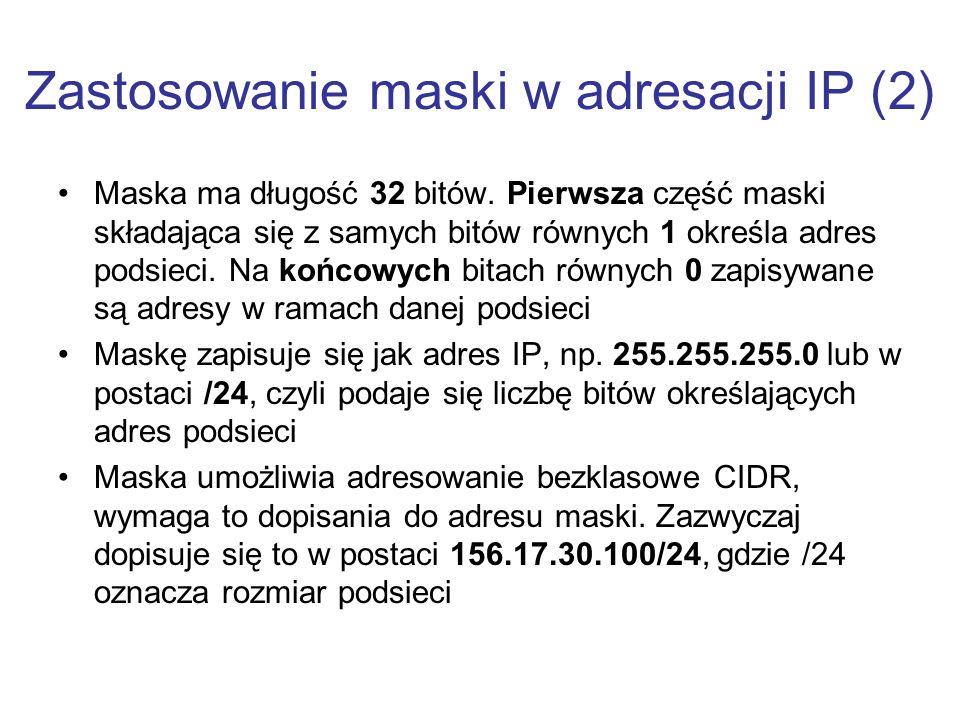 Zastosowanie maski w adresacji IP (2)
