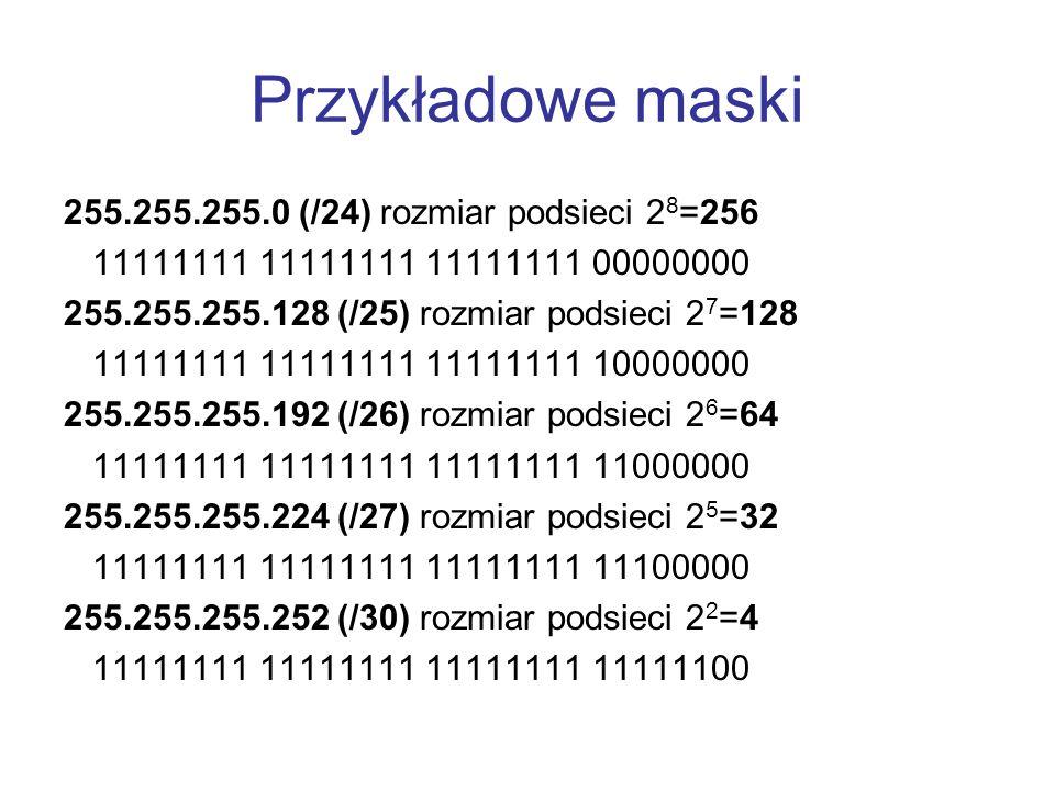Przykładowe maski 255.255.255.0 (/24) rozmiar podsieci 28=256