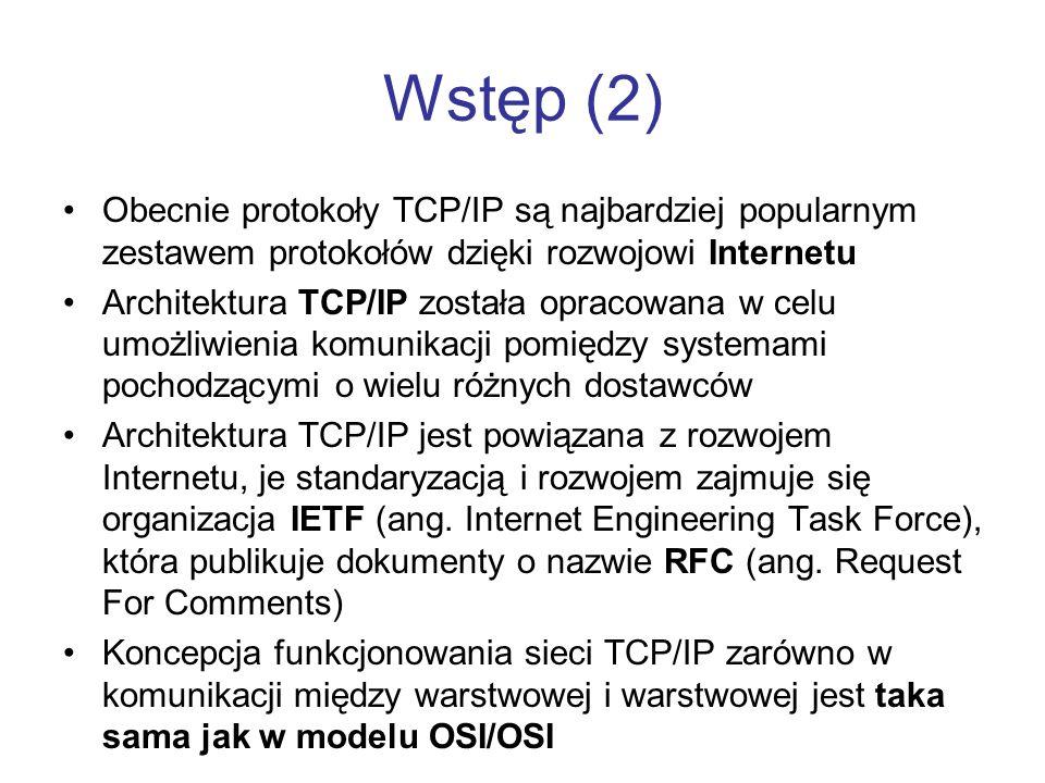 Wstęp (2) Obecnie protokoły TCP/IP są najbardziej popularnym zestawem protokołów dzięki rozwojowi Internetu.