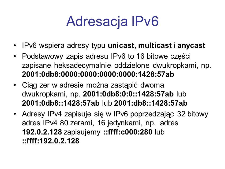 Adresacja IPv6 IPv6 wspiera adresy typu unicast, multicast i anycast