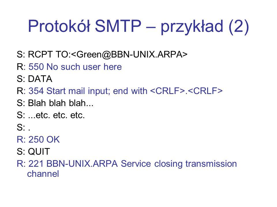 Protokół SMTP – przykład (2)