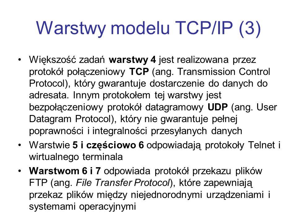 Warstwy modelu TCP/IP (3)