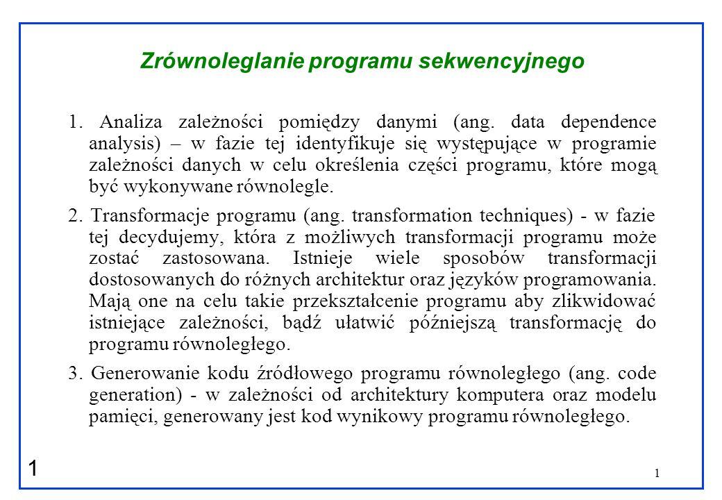 Zrównoleglanie programu sekwencyjnego