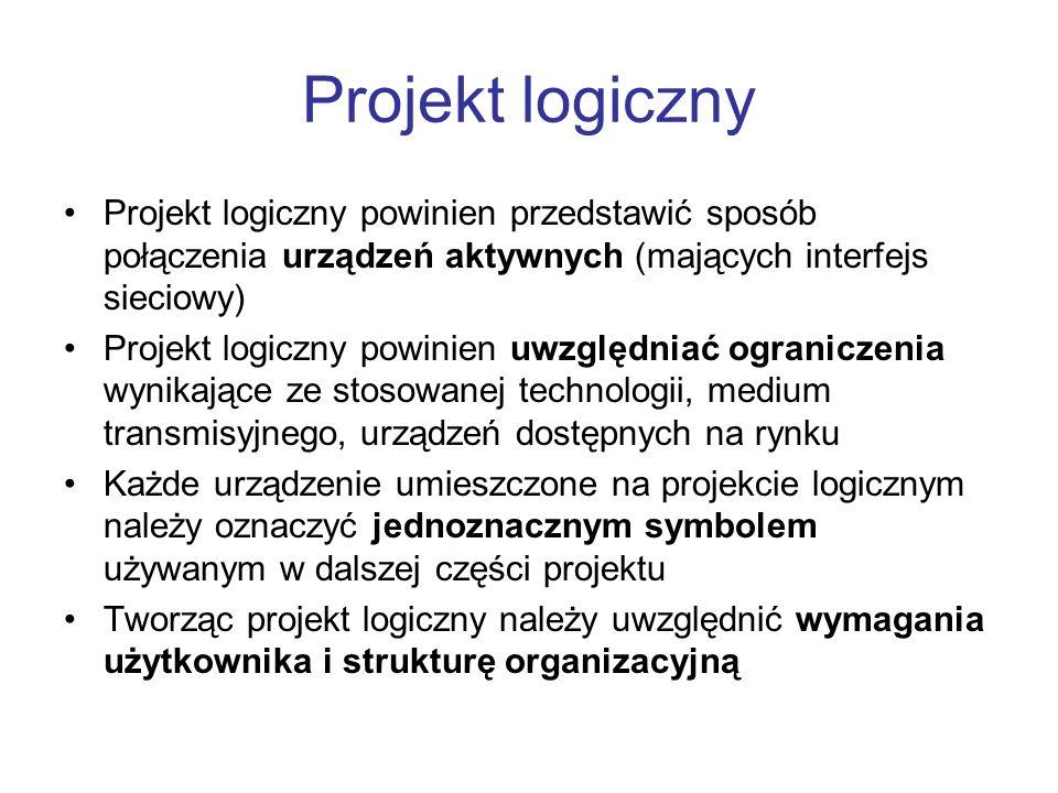 Projekt logiczny Projekt logiczny powinien przedstawić sposób połączenia urządzeń aktywnych (mających interfejs sieciowy)