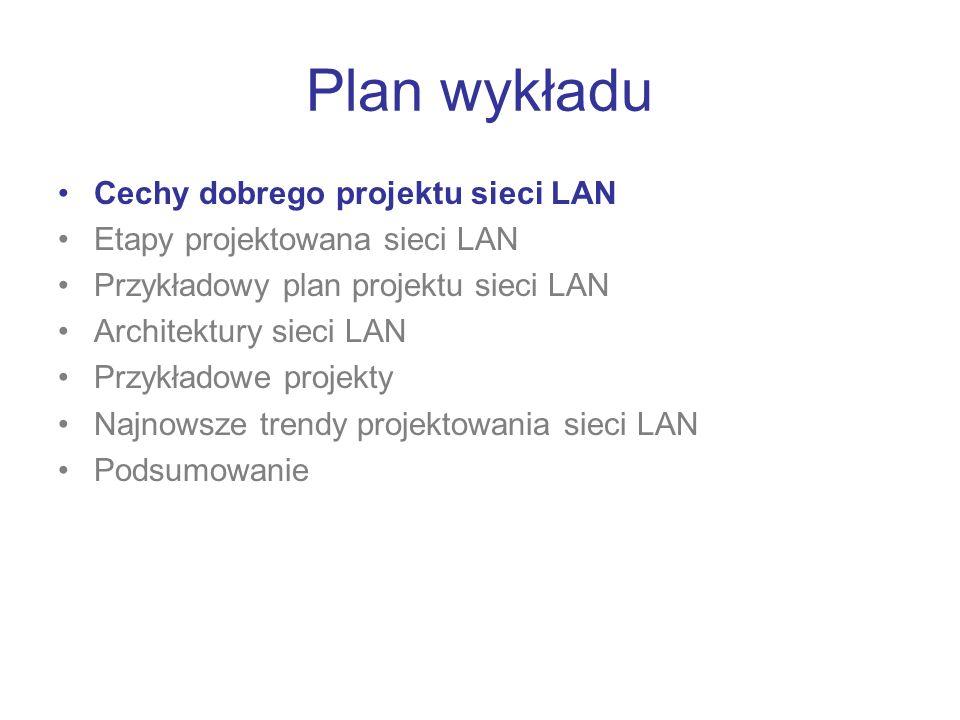 Plan wykładu Cechy dobrego projektu sieci LAN