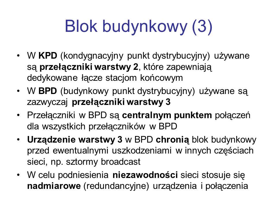 Blok budynkowy (3) W KPD (kondygnacyjny punkt dystrybucyjny) używane są przełączniki warstwy 2, które zapewniają dedykowane łącze stacjom końcowym.