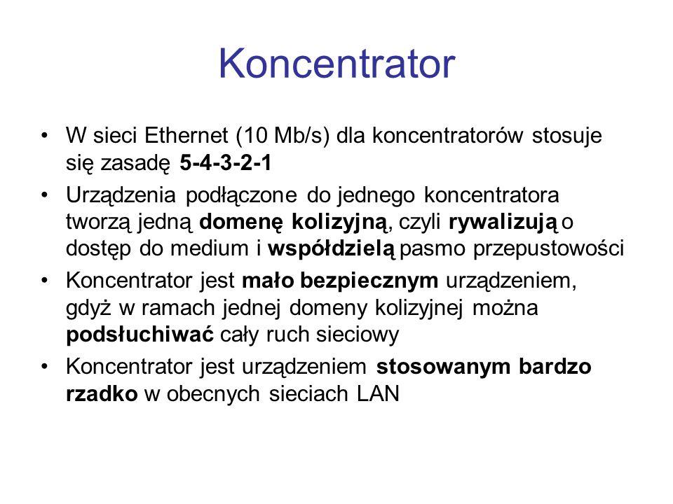 Koncentrator W sieci Ethernet (10 Mb/s) dla koncentratorów stosuje się zasadę 5-4-3-2-1.