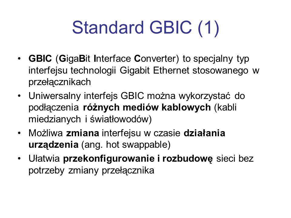 Standard GBIC (1) GBIC (GigaBit Interface Converter) to specjalny typ interfejsu technologii Gigabit Ethernet stosowanego w przełącznikach.