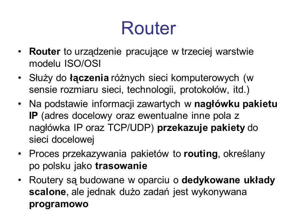 Router Router to urządzenie pracujące w trzeciej warstwie modelu ISO/OSI.