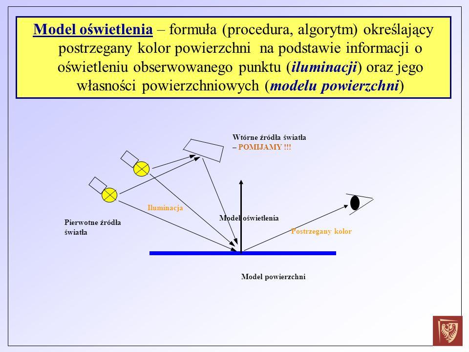 Model oświetlenia – formuła (procedura, algorytm) określający postrzegany kolor powierzchni na podstawie informacji o oświetleniu obserwowanego punktu (iluminacji) oraz jego własności powierzchniowych (modelu powierzchni)