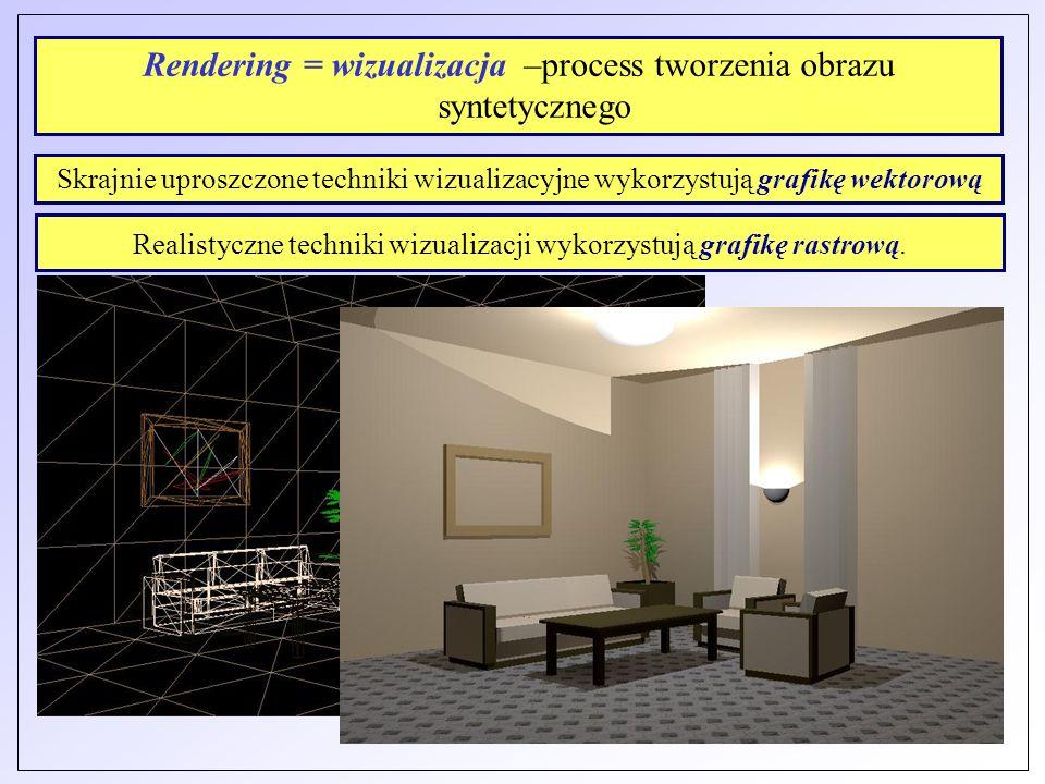 Rendering = wizualizacja –process tworzenia obrazu syntetycznego