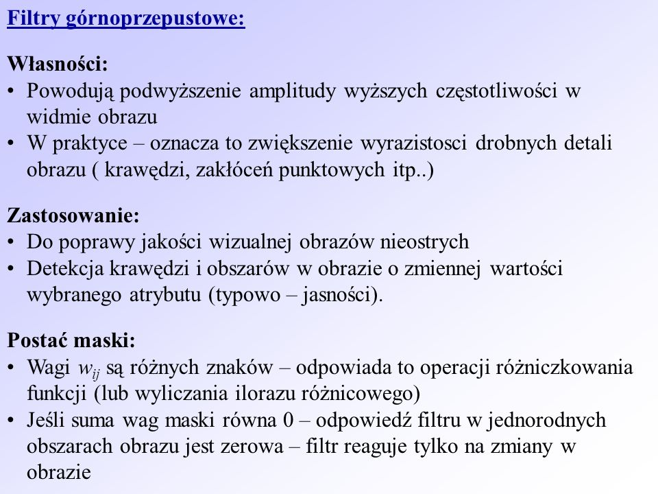 Filtry górnoprzepustowe: