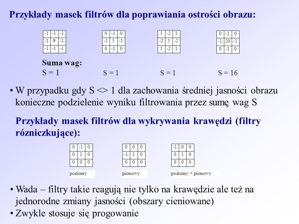 Przykłady masek filtrów dla poprawiania ostrości obrazu: