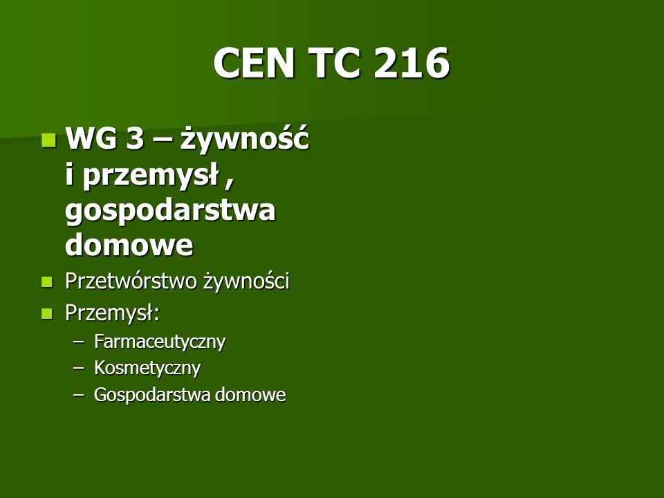 CEN TC 216 WG 3 – żywność i przemysł , gospodarstwa domowe