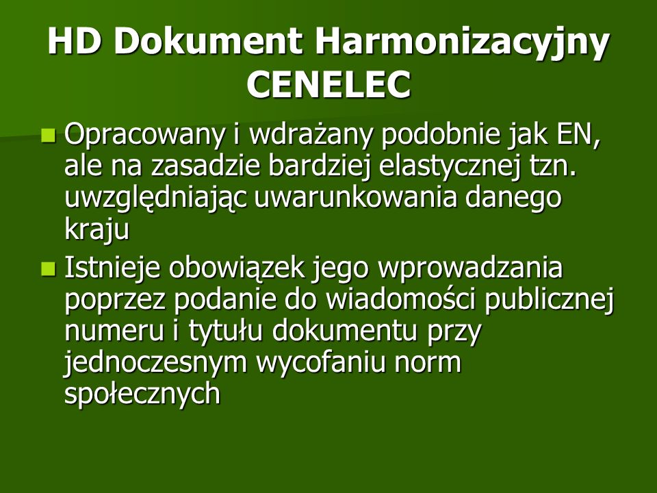 HD Dokument Harmonizacyjny CENELEC