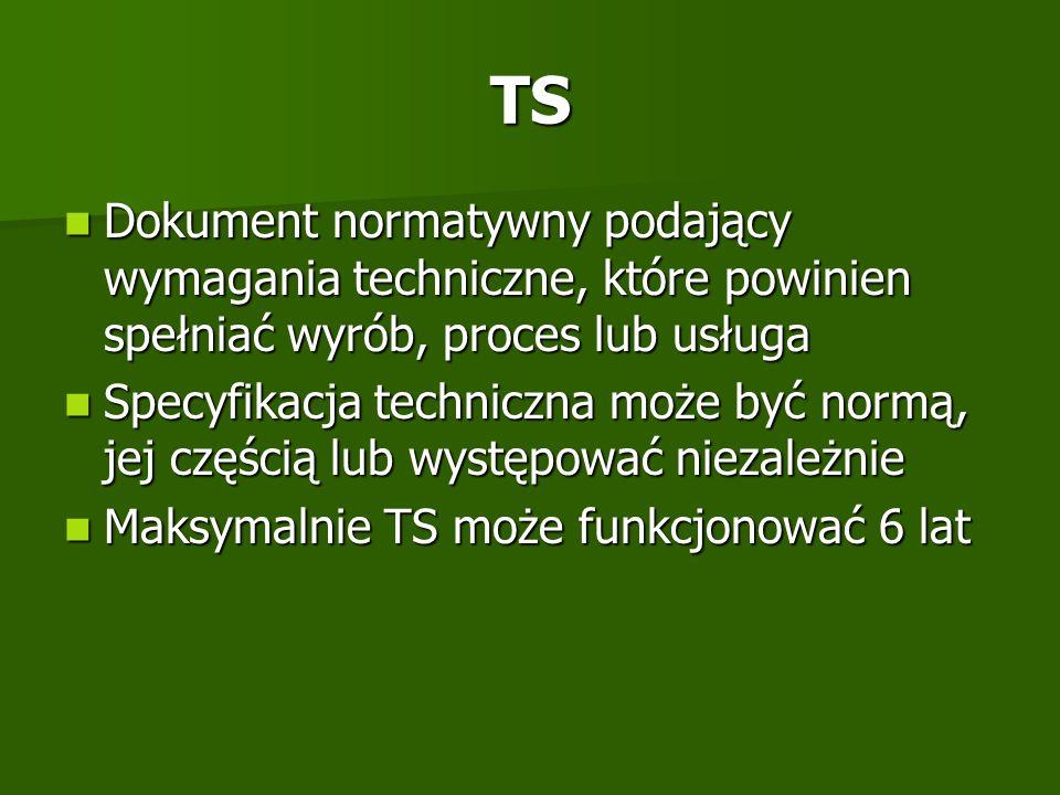 TS Dokument normatywny podający wymagania techniczne, które powinien spełniać wyrób, proces lub usługa.