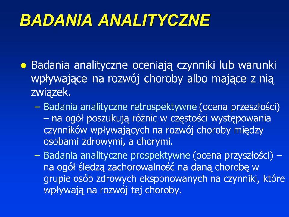 BADANIA ANALITYCZNE Badania analityczne oceniają czynniki lub warunki wpływające na rozwój choroby albo mające z nią związek.