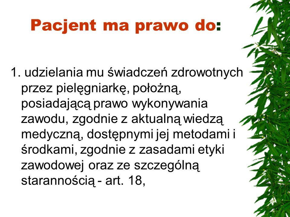 Pacjent ma prawo do: