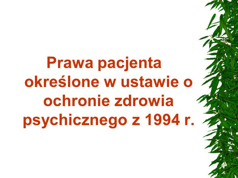 Prawa pacjenta określone w ustawie o ochronie zdrowia psychicznego z 1994 r.
