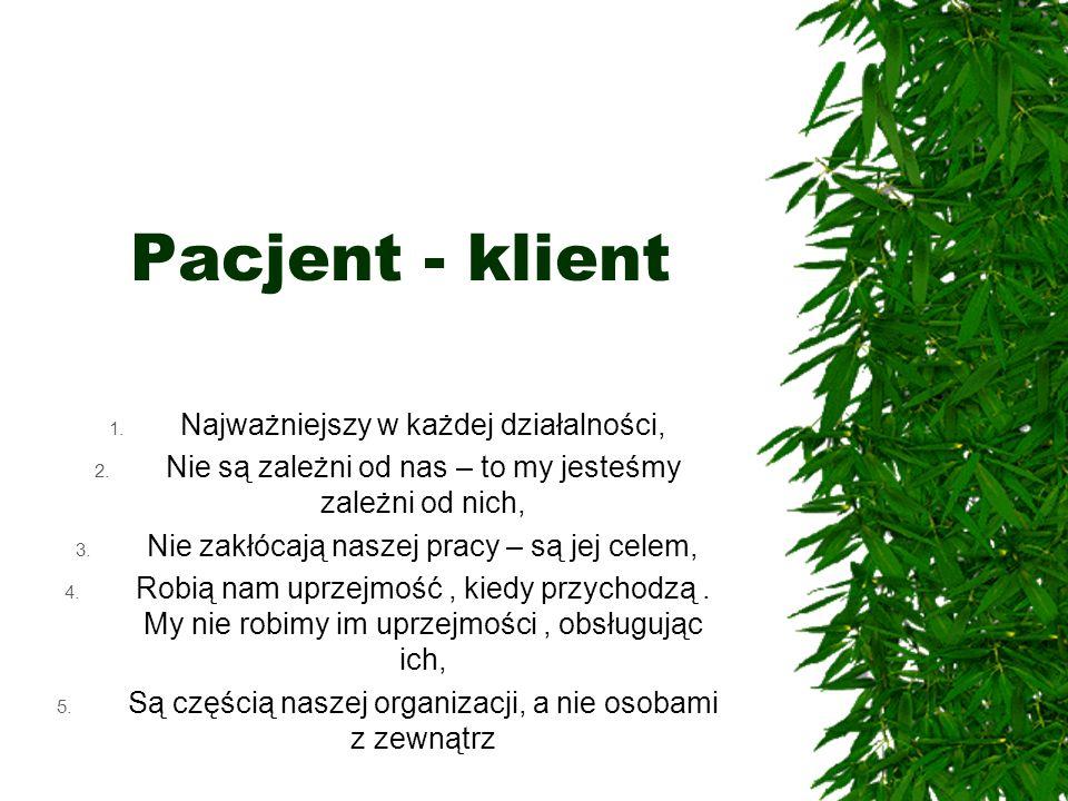 Pacjent - klient Najważniejszy w każdej działalności,