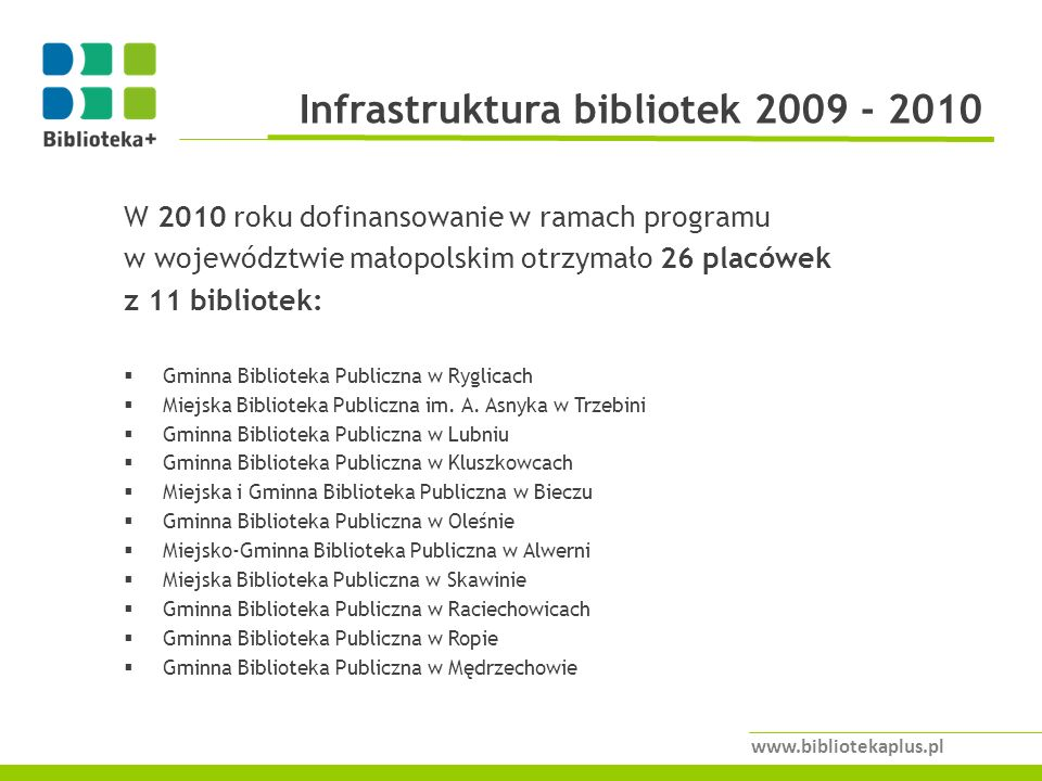 Infrastruktura bibliotek 2009 - 2010