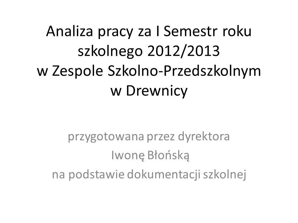 Analiza pracy za I Semestr roku szkolnego 2012/2013 w Zespole Szkolno-Przedszkolnym w Drewnicy