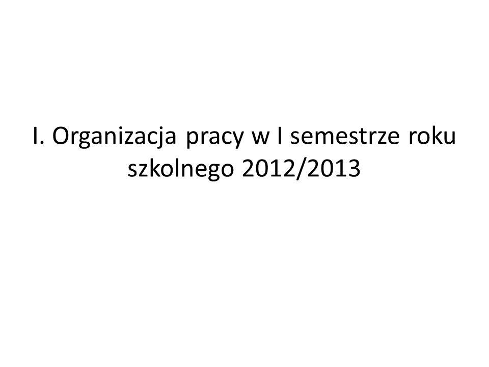 I. Organizacja pracy w I semestrze roku szkolnego 2012/2013