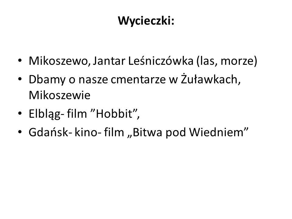 Wycieczki: Mikoszewo, Jantar Leśniczówka (las, morze) Dbamy o nasze cmentarze w Żuławkach, Mikoszewie.