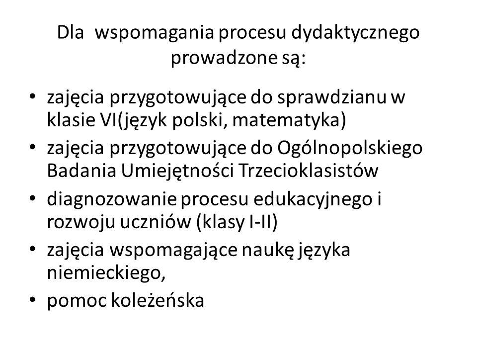 Dla wspomagania procesu dydaktycznego prowadzone są: