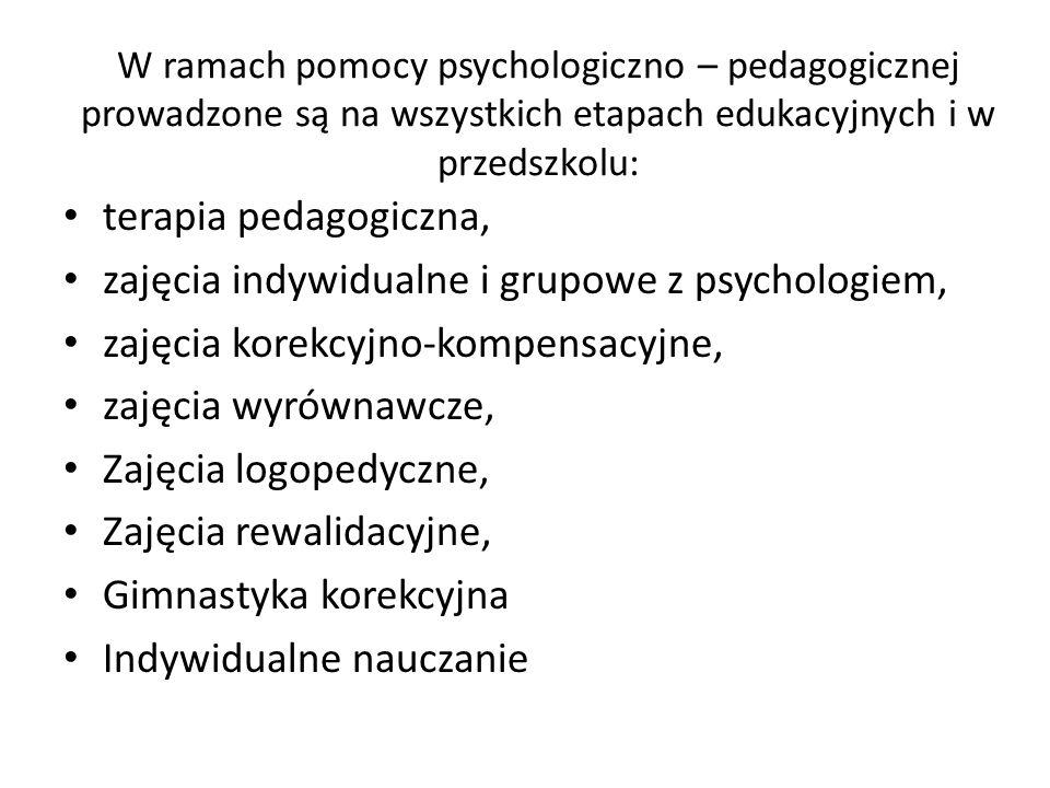 zajęcia indywidualne i grupowe z psychologiem,