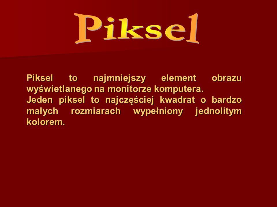Piksel Piksel to najmniejszy element obrazu wyświetlanego na monitorze komputera.