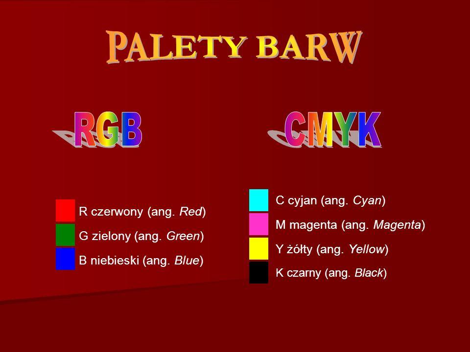 PALETY BARW RGB CMYK C cyjan (ang. Cyan) M magenta (ang. Magenta)