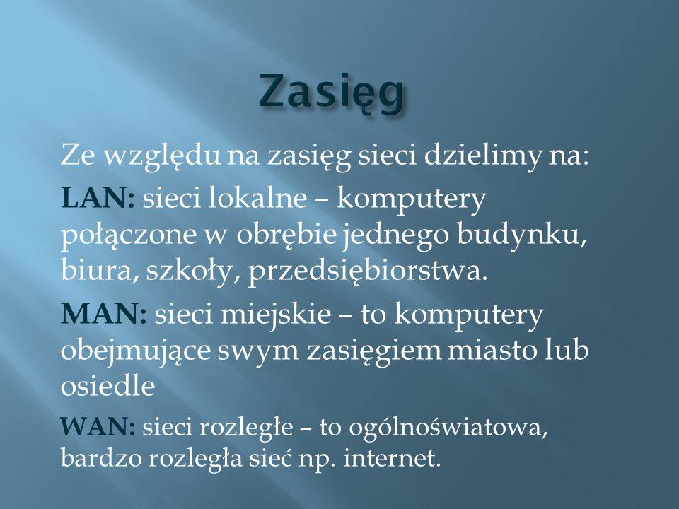Zasięg Ze względu na zasięg sieci dzielimy na: