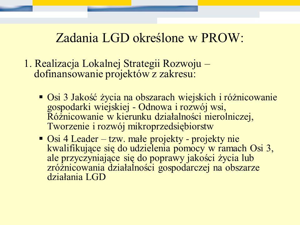 Zadania LGD określone w PROW: