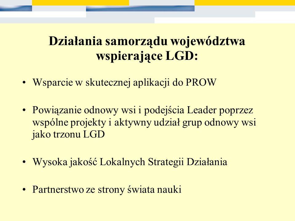 Działania samorządu województwa wspierające LGD: