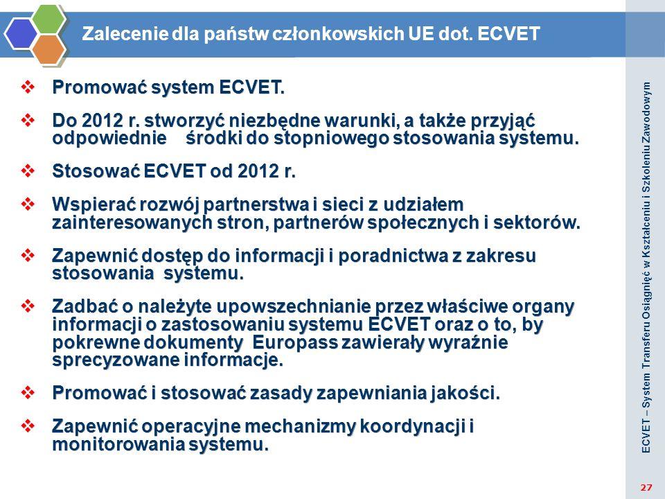Zalecenie dla państw członkowskich UE dot. ECVET