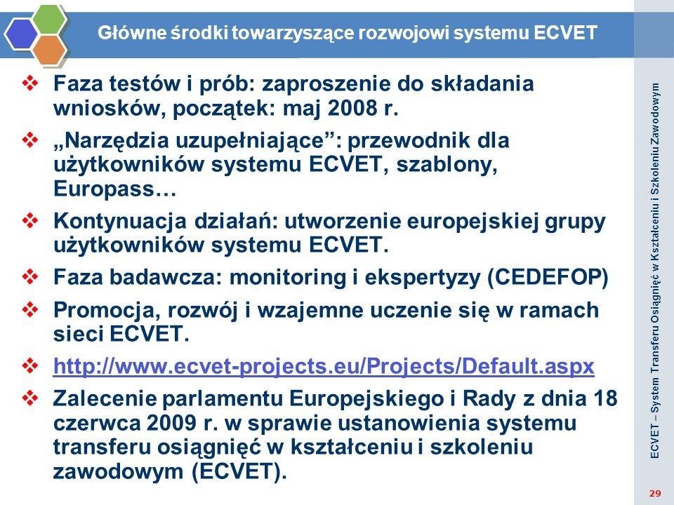 Główne środki towarzyszące rozwojowi systemu ECVET
